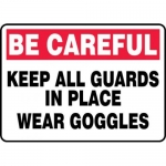"""Accuform MEQM902XF10, 10″ x 14″ Safety Sign """"Keep All Guards …"""""""