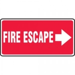 """Accuform MEXT509XV10, 7″ x 14″ Safety Sign """"Fire Escape"""" Right Arrow"""