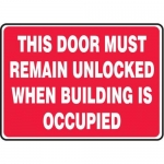 """Accuform MEXT516XL10, 10″ x 14″ Safety Sign """"This Door Must …"""""""