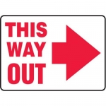 "Accuform MEXT529XV10, 10″ x 14″ Safety Sign ""This Way Out"" Right Arrow"