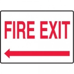 """Accuform MEXT592XV10, 7″ x 10″ Safety Sign """"Fire Exit"""" Left Arrow"""