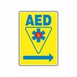 "Accuform MFSD415XV10, 14″ x 10″ Safety Sign ""AED"" Right Arrow Symbol"