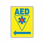 "Accuform MFSD416XV10, 14″ x 10″ Safety Sign ""AED"" Left Arrow Symbol"