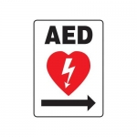 "Accuform MFSD417XV10, 14″ x 10″ Safety Sign ""AED"" Arrow Right Symbol"