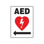 "Accuform MFSD418XV10, 14″ x 10″ Safety Sign ""AED"" Right Arrow Symbol"