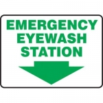 "Accuform MFSD429XT10, 7″ x 10″ Safety Sign ""Emergency Eyewash Station"""