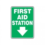 "Accuform MFSD433XT10, 10″ x 7″ Safety Sign ""First Aid Station"""