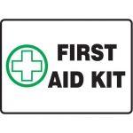 "Accuform MFSD446XT10, 10″ x 14″ Safety Sign ""First Aid Kit"""