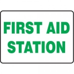 """Accuform MFSD516XV10, 10″ x 14″ Safety Sign """"First Aid Station"""""""