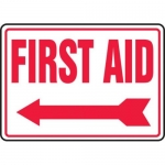 "Accuform MFSD532XT10, 10″ x 14″ Safety Sign ""First Aid"""