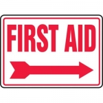 "Accuform MFSD534XT10, 10″ x 14″ Safety Sign ""First Aid"""