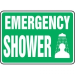 "Accuform MFSD537XT10, 10″ x 14″ Safety Sign ""Emergency Shower"""