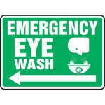 "Accuform MFSD539XT10, 10″ x 14″ Safety Sign ""Emergency Eye Wash"""