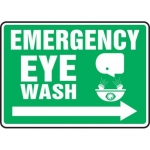 "Accuform MFSD551XT10, 10″ x 14″ Safety Sign ""Emergency Eye Wash"""