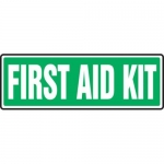 """Accuform MFSD554XT10, 4″ x 12″ Safety Sign """"First Aid Kit"""""""
