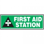 "Accuform MFSD556XT10, 4″ x 12″ Safety Sign ""First Aid Station"""