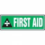 "Accuform MFSD559XT10, 4″ x 12″ Safety Sign ""First Aid"""