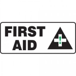 "Accuform MFSD581XT10, 7″ x 17″ Safety Sign ""First Aid"" Dura-Plastic"