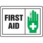 "Accuform MFSD594XT10, 7″ x 10″ Safety Sign ""First Aid"" Dura-Plastic"