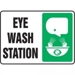 "Accuform MFSD595XT10, 10″ x 14″ Safety Sign ""Eye Wash Station"""