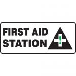 "Accuform MFSD599XV10, 7″ x 17″ Safety Sign ""First Aid Station"""