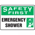 "Accuform MFSD902XT10, 10″ x 14″ Safety Sign ""Emergency Shower"""