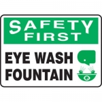 "Accuform MFSD906XT10, 10″ x 14″ First Aid Sign ""Eye Wash Fountain"""
