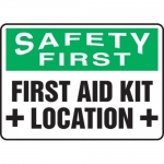 "Accuform MFSD909XT10, 7″ x 10″ Safety Sign ""First Aid Kit Location"""