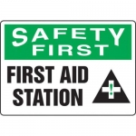 """Accuform MFSD912XV10, 10″ x 14″ Safety Sign """"First Aid Station"""""""