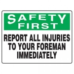"""Accuform MFSD918XT10, 18″ x 24″ Safety Sign """"Report All Injuries …"""""""