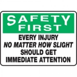 """Accuform MFSD920XT10, 10″ x 14″ Safety Sign """"Every Injury No …"""""""