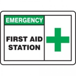 """Accuform MFSD924XV10, 10″ x 14″ Safety Sign """"First Aid Station"""""""