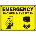 "Accuform MFSD925XT10, 10″ x 14″ Safety Sign ""Shower & Eye Wash"""