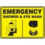 "Accuform MFSD925XT10, 10″ x 14″ Safety Sign ""Shower & Eye Wash"""