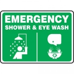 "Accuform MFSD930XT10, 10″ x 14″ Safety Sign ""Shower & Eye Wash"""
