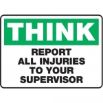 """Accuform MFSD935XT10, 10″ x 14″ Safety Sign """"Think – Report All …"""""""