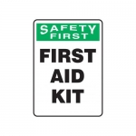 "Accuform MFSD944XT10, 10″ x 7″ First Aid Sign ""First Aid Kit"""