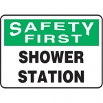 "Accuform MFSD949XT10, 7″ x 10″ OSHA First Safety Sign ""Shower Station"""