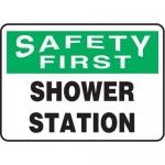 "Accuform MFSD949XV10, 7″ x 10″ OSHA First Safety Sign ""Shower Station"""
