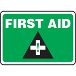 "Accuform MFSD957XT10, 10″ x 14″ Safety Sign ""First Aid"""