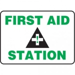 """Accuform MFSD960XV10, 10″ x 14″ Safety Sign """"First Aid Station"""""""