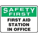 """Accuform MFSD961XV10, 10″ x 14″ Safety Sign """"First Aid Station In …"""""""
