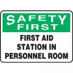 """Accuform MFSD963XV10, 10″ x 14″ Safety Sign """"First Aid Station In …"""""""