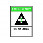 "Accuform MFSD965XT10, 14″ x 10″ ANSI Sign ""First Aid Station"""