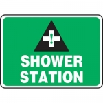"Accuform MFSD969XT10, 7″ x 10″ First Aid Sign ""Shower Station"""