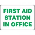 """Accuform MFSD977XV10, 10″ x 14″ Safety Sign """"First Aid Station In …"""""""