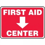 "Accuform MFSD978XT10, 10″ x 14″ Safety Sign ""First Aid Center"""