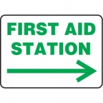 """Accuform MFSD980XV10, 10″ x 14″ Safety Sign """"First Aid Station"""""""