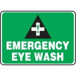 "Accuform MFSD984XT10, 10″ x 14″ Safety Sign ""Emergency Eye Wash"""