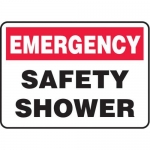 "Accuform MFSD989XT10, 10″ x 14″ Emergency Safety Sign ""Safety Shower"""